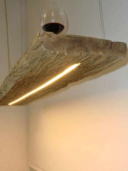 Hängelampe aus antiken Balken LEDs warmweiss von PeKa- Ideen auf DaWanda.com
