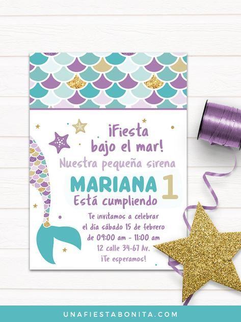 Sirenita Invitación Primer Añito Cumpleaños De Sirena