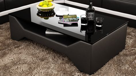 Contemporary Black Leather Coffee Table W Black Glass Table Top
