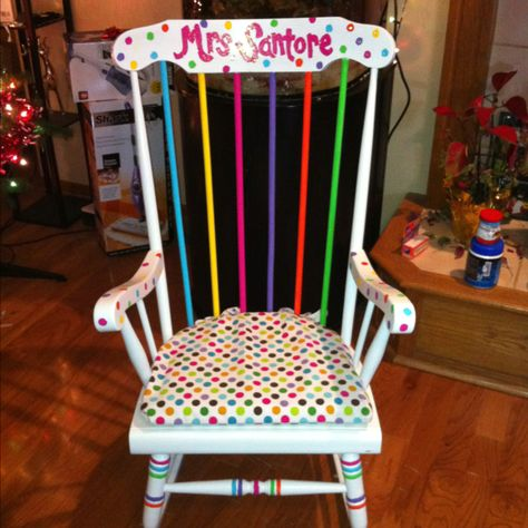 My teacher rocking chair! Hand painted with love! I WANT IT!