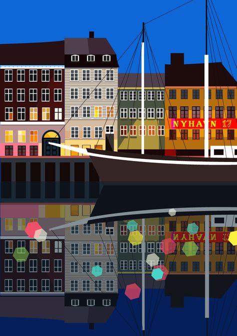 Nyhavn Illustration Copenhagen Vintage Travel Posters