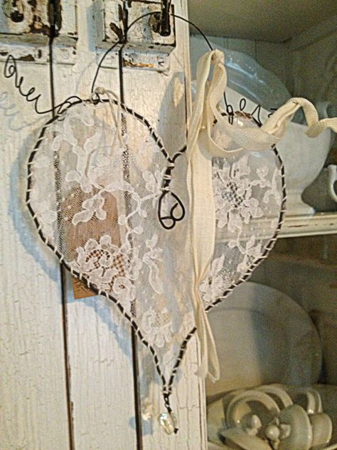 Different colors for baby's room Hanging Wire Lace Heart ~ by ~ Rebeccavintageliving ~ I always love the hearts and angle wings that are made in this fashion, with the lace ~ so pretty~❥