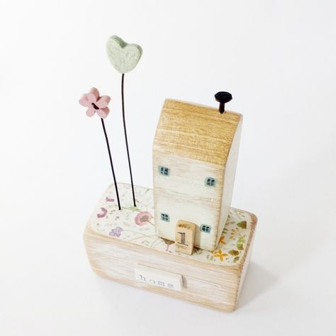 Little wooden house with love heart garden 'home'