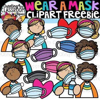 Wear A Mask Clipart Freebie Distance Learning Clipart Clip Art Freebies Clip Art Teachers Pay Teachers Freebies