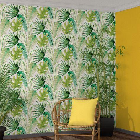 Wild Child JUNGLE Papier peint intiss/é Motif palmier et palmiers 10.05 m x 0.53 m Feuille de palmier verte.