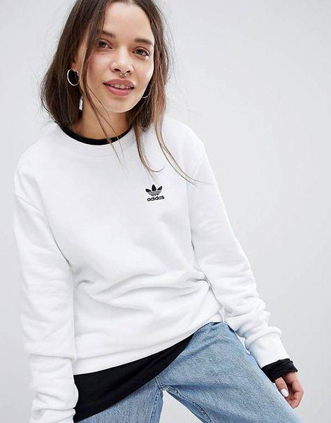 adidas Originals - Sweat-shirt à mini trèfle - Blanc  215d0815186
