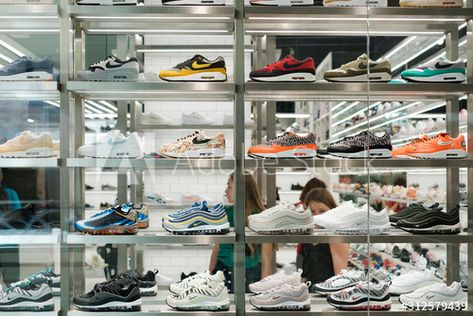 Nike sneaker collection / sport shoes in shopping window at store in - Berlin, Germany - June 2018 , #Sponsored, #sport, #shoes, #shopping, #Nike, #sneaker #Ad