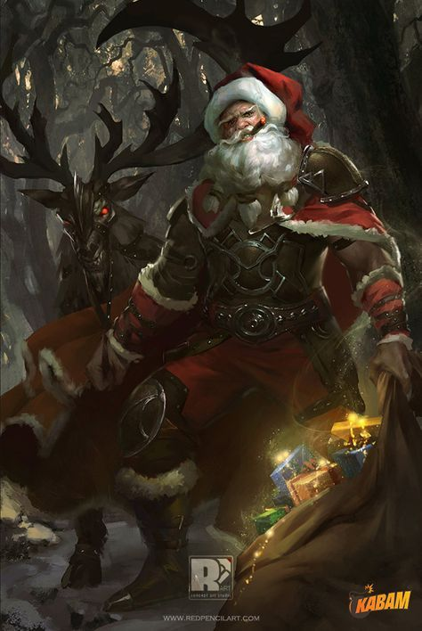 Artstation Christmas Freaker Www Redpencilart Com Red Pencil Art Santa Art Art Dark Christmas