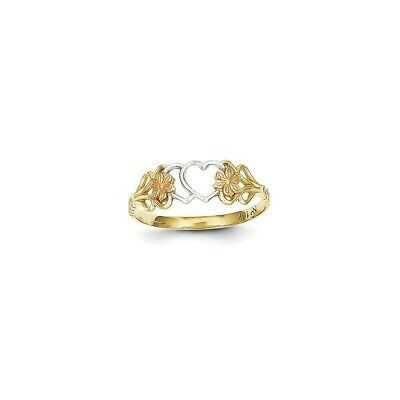 Ebay Ad Versil 10 Karat Gold Two Tone And Rhodium Double Heart Ring 6 Double Heart Ring Rings Heart Ring