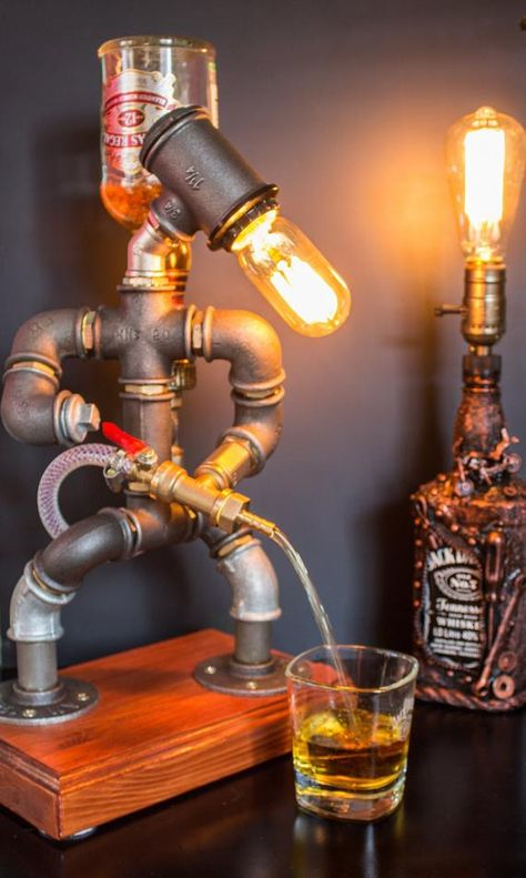 CHRISTMAS Gift for Him, Liquor alcohol whisky dispenser, Firefighter Gift, Jack Daniels Birthday gift, Steampunk Fireman pipe robot lamp - wood bar Whiskey Dispenser, Alcohol Dispenser, Jack Daniels Anniversaire, Whisky Spender, Jack Daniels Birthday, Shellac Finish, Diy Kit, Firefighter Gifts, Christmas Gifts For Him