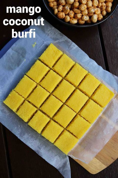mango burfi recipe | mango barfi | mango coconut burfi recipe with step by step photo and video recipe. summer season india is very colorful and is full of tropical fruits. these fruits are not just relished by itself and is used heavily in indian cuisine to make beverages and desserts. one such popular indian sweet recipe is the mango coconut barfi known for its combination of mango and coconut flavor.