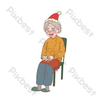 Christmas Cartoon Hand Drawn Sitting Old Lady Png Images Psd Free Download Pikbest In 2020 Christmas Cartoons Png Images How To Draw Hands
