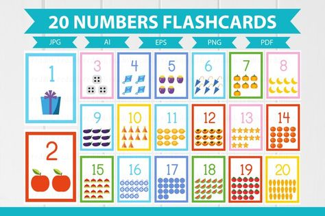 20 Numbers English Flashcards A4 size (1014202) | Educational | Design Bundles