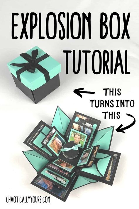 Explosion Box DIY Instructions - Chaotically Yours Diy Gift Box, Diy Box, Diy Paper Box, Paper Gift Box, Paper Boxes, Christmas Gifts To Make, Diy Christmas Ornaments, Birthday Explosion Box, Explosion Box Tutorial