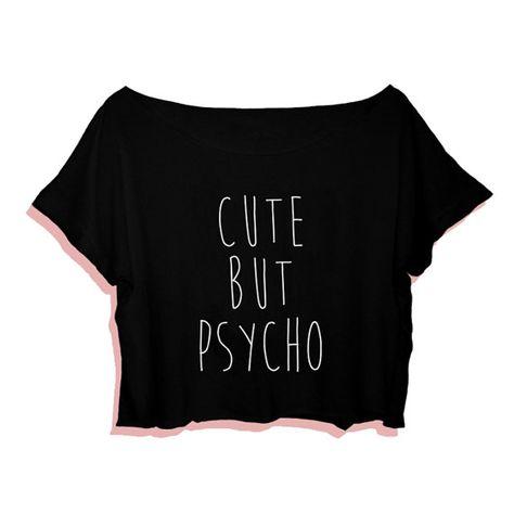 b831708c28a Camiseta linda pero Psycho Crop Tee camiseta de Tumblr por NavedAme ...