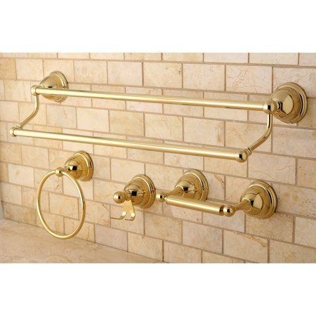 Kingston Brass Modern 5 Piece Bath Hardware Set In Polished Brass