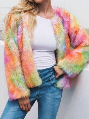 Fashion Women Colorful Long Short Coat Plush  Coat Warm Furry Jacket Outerwear