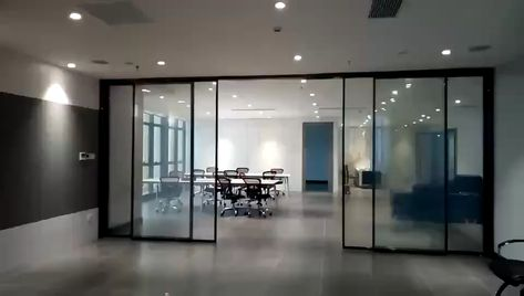 Linear magnetic drive automatic sliding door use switchable glass.