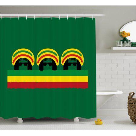 Jamaican Shower Curtain Jamaican Reggae Culture Inspired Minimal Head Shapes With Hats Country Flag Fabric Bat French Country Bathroom Bathroom Sets Bathroom