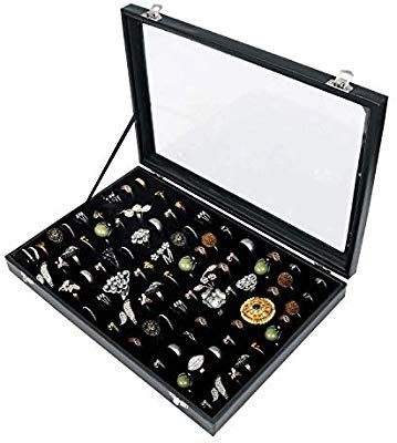 Amazon Com 100 Slots Ring Storage Display Box With Transparent Lid Ring Holder Showcase For Store Display Jewelry Tray Organizer Ring Storage Jewelry Rings