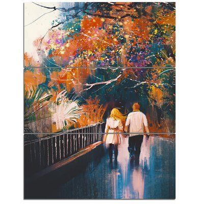 Designart Couple Walking Holding Hands Print Multi Piece Image On Canvas In 2021 Love Painting Couple Art Canvas Giclee