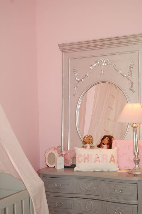 Mur Rose Chambre Fille Chiara Miroir Princesse Commode Grise