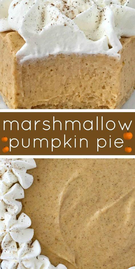 No Bake Marshmallow Pumpkin Pie - No Bake Pumpkin Pie with Marshmallows is a sweet and creamy twist to classic pumpkin pie. Marshmallow, Cool whip, and pumpkin combine to make a delicious pumpkin pie in a store-bought graham cracker crust. Pumpkin Baking Recipes, No Bake Pumpkin Pie, Baked Pumpkin, Pumpkin Carving, Pumpkin Spice, Pumpkin Pie Cupcakes, Pumpkin Pie Recipe Graham Cracker Crust, Pumpkin Pie Cheesecake, Pumpkin Pumpkin