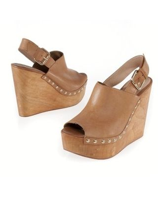 Leather Clog Style Wedge Sandals with Ankle Strap | my