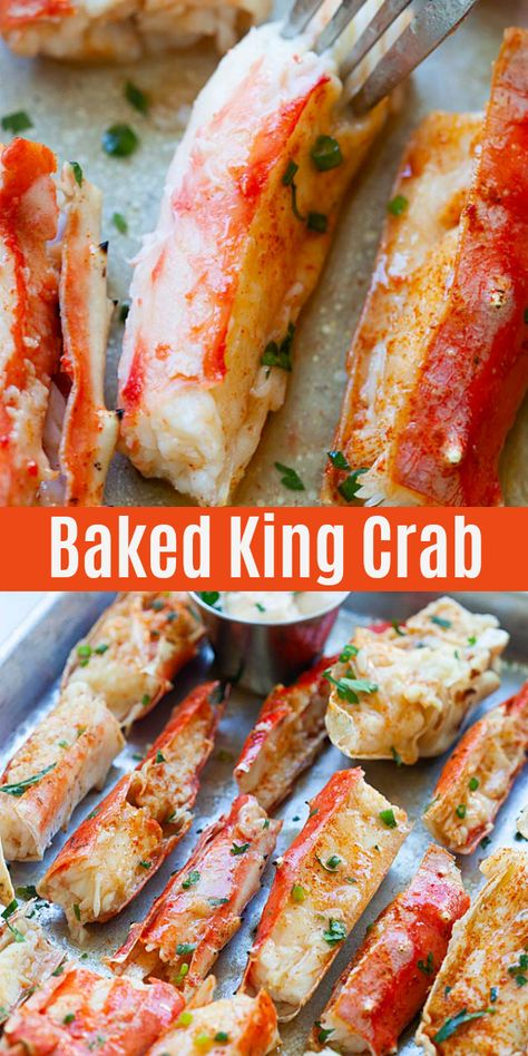 Baked King Crab - sweet, juicy, and crazy yummy crab legs baked with Sriracha butter. These king crab legs are so good you'll want it every day Best Seafood Recipes, Crab Recipes, Crab Cakes, Seafood Diet, Seafood Boil, Seafood Meals, Crab Dishes, Food Porn, Four