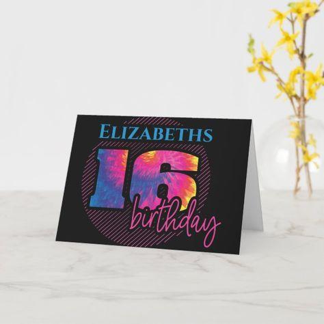 Sweet Sixteen Modern Tie Dye 16th Birthday Card
