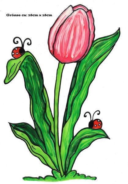 fensterschmuck  window color bild marienkäfer auf tulpe
