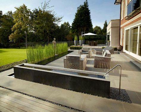 Wasserbecken Terrasse Pinterest Brunnen, Haus ideen und - terrassengestaltung mit wasserbecken