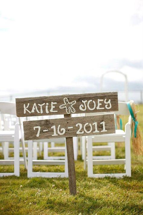 2014 recycled wood beach wedding decor sign, handmade beach ...