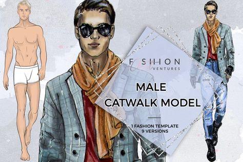 Male Catwalk Model- Fashion Croqui (252991)   Illustrations   Design Bundles