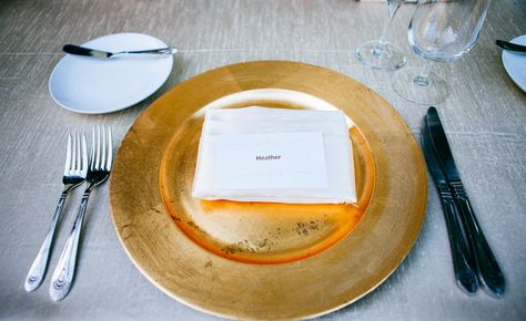We love these gold plates as place settings!