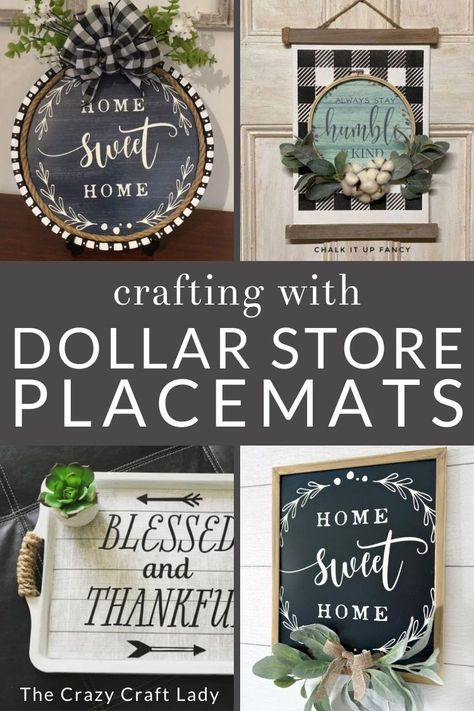 Dollar Store Placemat Crafts + DIY Decor