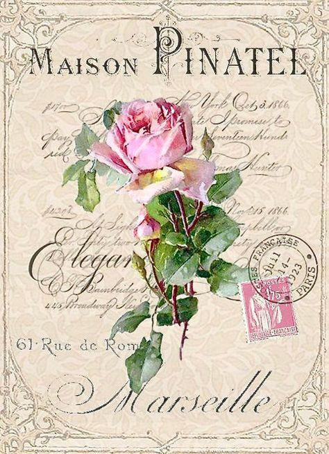 Vintage Pink Rose Stamp Postcard Graphic Image Art Fabric Block Doodaba