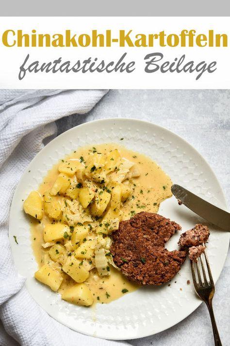 Chinakohl Kartoffeln gegart in Gemüsebrühe mit Sahne, Thymian, Paprikapuler mit vegetarischer Frikadelle aus Kidneybohnen, vegan möglich