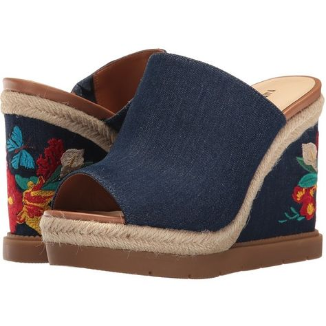 a8e94d7c17d Nine West Vip 10 (Navy Denim) Women s Wedge Shoes ( 70) ❤ liked on Polyvore  featuring shoes