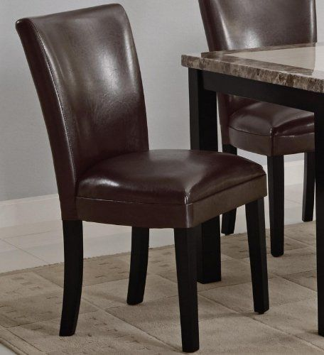 Set Of 2 Parson Dining Chairs In Brown Faux Leather By Coaster