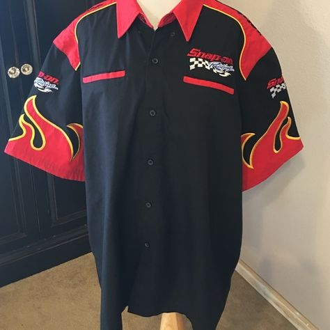 a6d597cc3 Snap On Racing Shirt Snap On Racing button up shirt. Two pockets on breast.  Size XL. Worn once ( has been dry cleaned) Snap In Tops Button Down Shirts