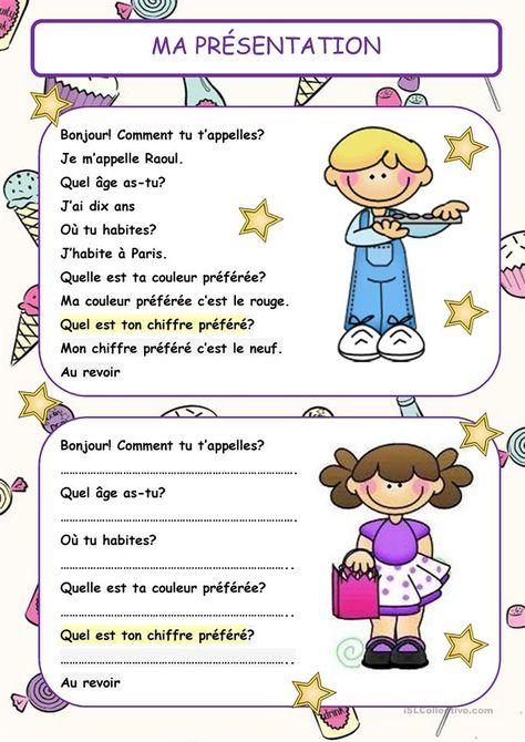 Ma présentation (Questions) - Français Fle Fiches Pedagogiques