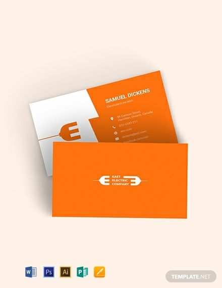 Modern Electrician Business Card Template Word Psd Apple Pages Illustrator Publisher Business Card Template Word Business Card Mock Up Business Cards Mockup Psd