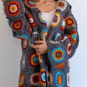 Knitted fur jacket Knitted fur sweater Boho fur coat Fur jacket Crochet jacket Fur jacket Beige jacket Crochet flower Gray crochet sweater