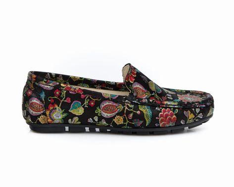 Mokasyny Damskie Skora Naturalna Model 001 Kolor Czarne Liscie Sklep Zapato Loafers Shoes Fashion