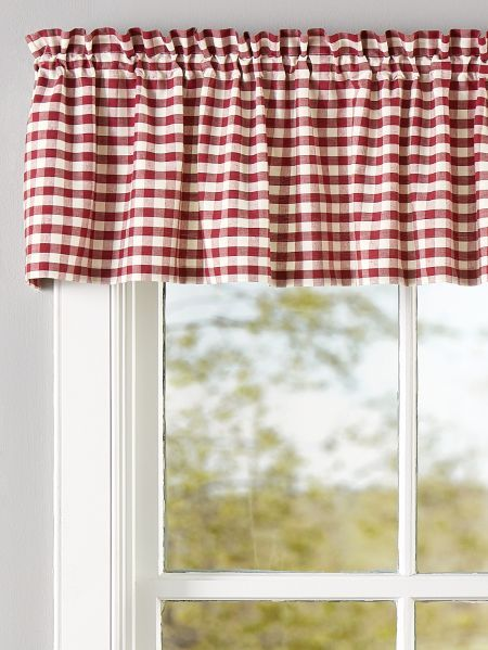 Cabin Check Rod Pocket Insert Valance Valance Cabin Decor