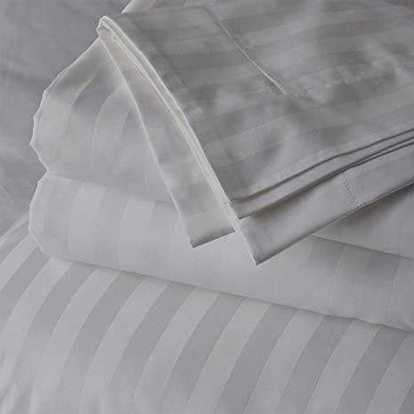 Cotton Bed Sheets Queen Size Set 100 Cotton 500 Thread Count 18 Inch Extra Deep Pocket F In 2021 Striped King Bedding Egyptian Cotton Bedding Striped Bed Sheets 18 inch deep pocket queen sheets