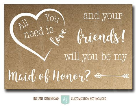 Maid of Honor Ask Card All You Need is Love. Printable bridesmaid cards in rustic style. Click through for more colors, fonts, styles, and sayings. Shop our invites, decorations, thank you cards for weddings, graduations, anniversaries, and new babies. Only at Aesthetic Journeys 24w