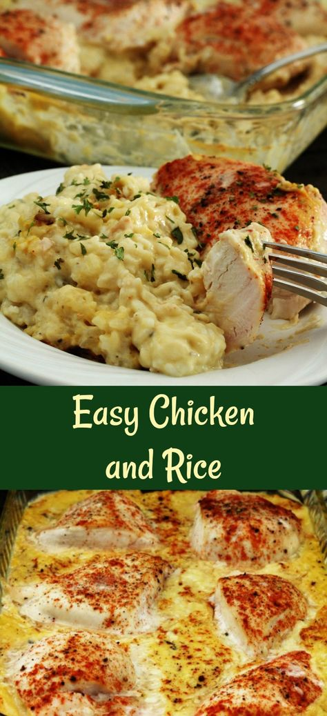 Easy chicken and rice is one of those awesome recipes that you can put together in five minutes, bake, and then eat. Delicious rice and chicken in one pan. This easy chicken and rice recipe is such an easy meal to put together. I love putting it together Easy Rice Recipes, Side Dish Recipes, Easy Dinner Recipes, New Recipes, Easy Meals, Cooking Recipes, Favorite Recipes, Quick Easy Chicken Recipes, Recipies