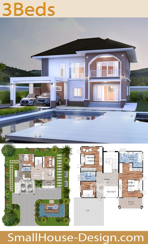 Modern House Design 16x20 with 3 Bedrooms. EARTH HOME SERIES Tropical StyleLine EA-132, 2-story, house 3 bedrooms, 3 bathrooms,  Parking for 2 cars, Usable area 285 square meters. Land size 77 Square meters, 16 meters wide 20 meters long, Floor plan 1, Floor plan 2 EA-131 EA-133